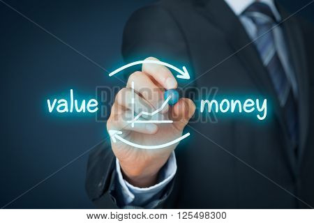Value for money concept. Businessman draw scheme symbolize value for money process.