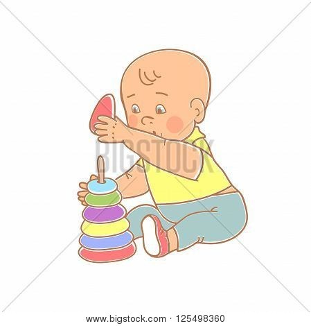 Little lovely baby boy playing with toys. Kid plays with pyramid. Colorful vector illustration