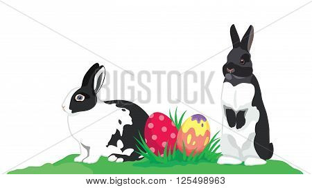 Easter rabbits colorful Easter eggs isolated on white in corner flat design