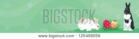 Easter template Web banner Header template with rabbits, colorful Easter eggs and blank space for text