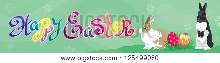 Easter holiday Web banner Header template with Easter rabbits, colorful Easter eggs and  calligraphic handwritten text