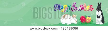 Easter template Web banner Header with Happy Easter text, Easter rabbits, colorful Easter eggs and  copy blank space