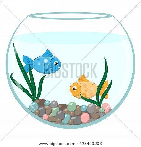 Golden and blue fish in the round aquarium. Cartoon stile