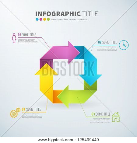 Business infographic rotate arrow chart time laps with icons for reports and presentations. Vector illustration.