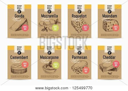 Vector cheese background. Dairy vintage illustration. Cards set