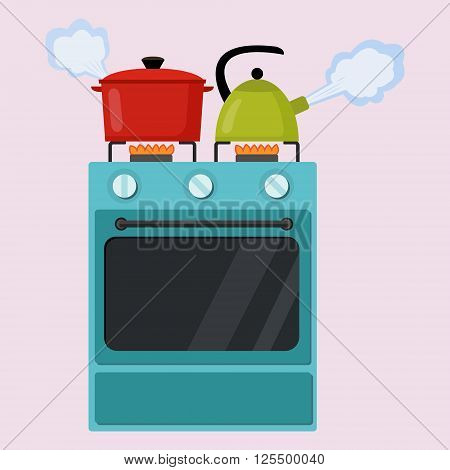 Kitchen stove flat style isolated vector illustration. Boiling pot and kettle on the stove. Preparing food cooking.