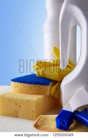 Professional Cleaning Equipment On White Table Closeup