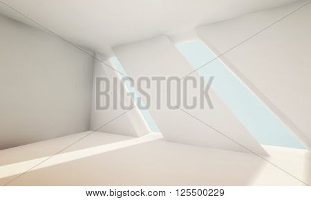 Abstract Empty White Interior With Windows 3D