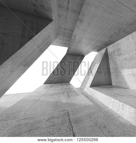 Abstract Square 3D Empty Concrete Interior