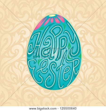 Happy Easter greeting card background with calligraphic typography text in colored egg