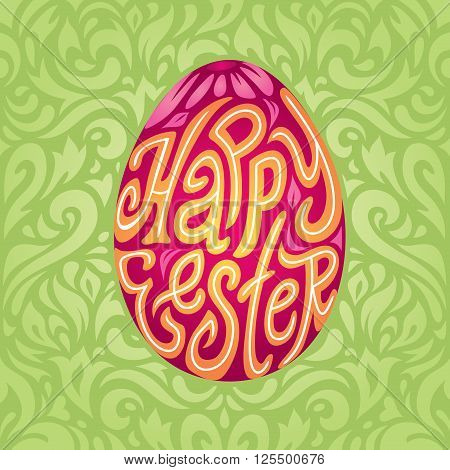 Happy Easter greeting card background with calligraphic typography text in colored Easter egg