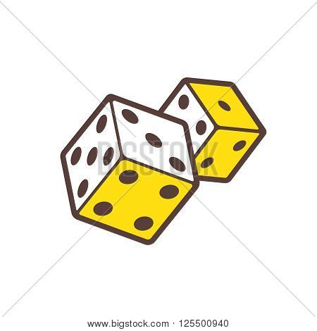 Dice game logo. Casino logotype. Dice symbol isolated on white. Casino icon. Two dices cartoon illustration. Casino games line style isometric vector icon.