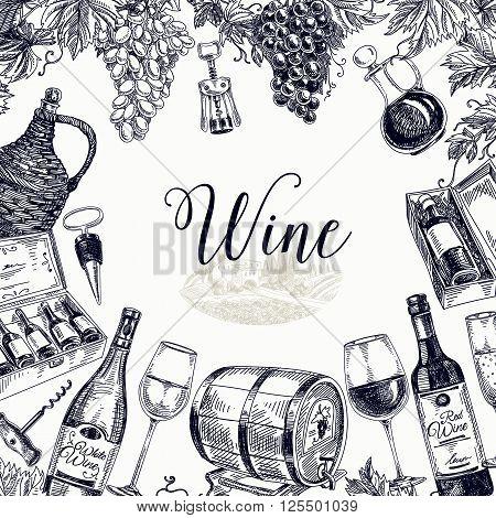 Vector hand drawn  wine background. Wine illustration.