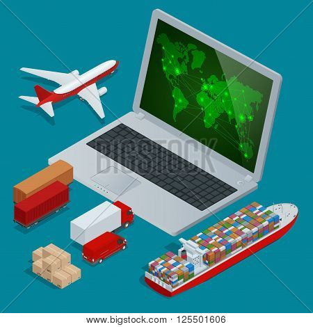 Global logistics network Web site concept Flat 3d isometric vector illustration. On-time delivery Vehicles designed to carry large numbers cargo