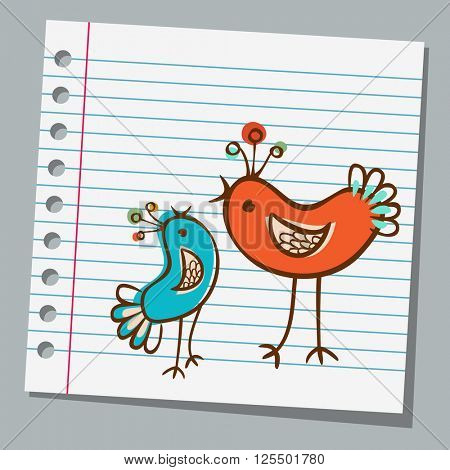 notebook paper cute birds
