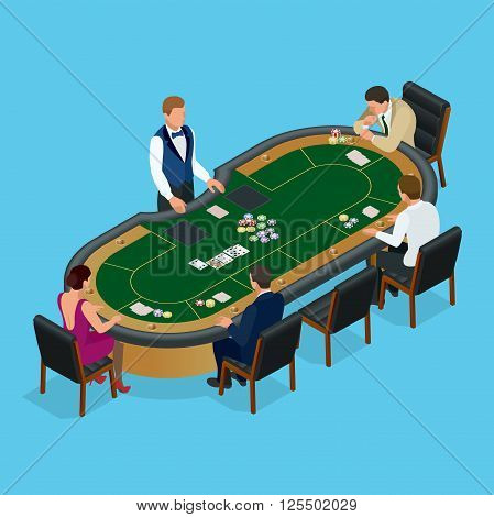 People playing poker in the casino, gambling. Isometric vector Group of young people playing poker in a casino vector illustration