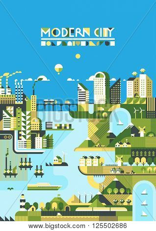 Infographic - modern city, industry, ecosystem and travel. Flat design