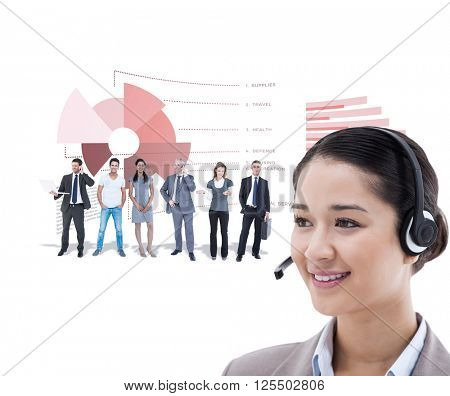 Happy operator posing with a headset against business interface