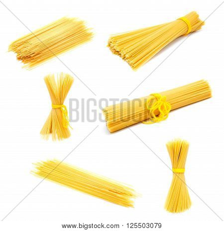 Collection of photos uncooked Italian spaghetti isolated on a white background