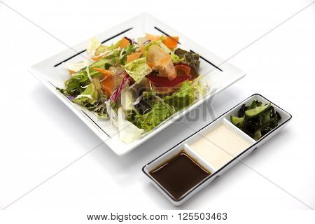 Salad from fresh leaves of cabbage, color cabbage, carrots, onions on a porcelain plate with soy sauce and pickles