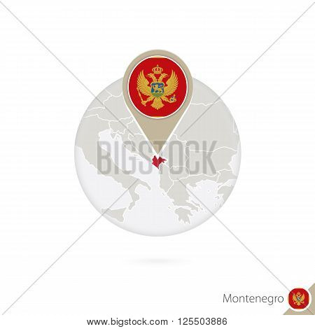 Montenegro Map And Flag In Circle. Map Of Montenegro, Montenegro Flag Pin. Map Of Montenegro In The