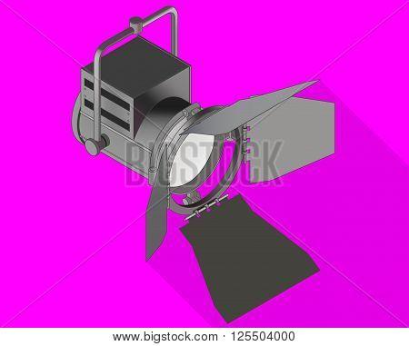 Studio light isometric flat vector 3d illustration. Spotlight flash icon.  Searchlight pictogram.
