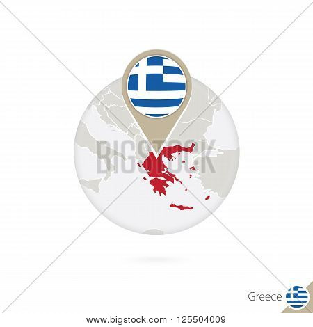 Greece Map And Flag In Circle. Map Of Greece, Greece Flag Pin. Map Of Greece In The Style Of The Glo