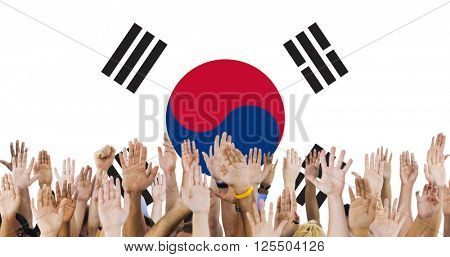 South Korea National Flag Group of People Concept