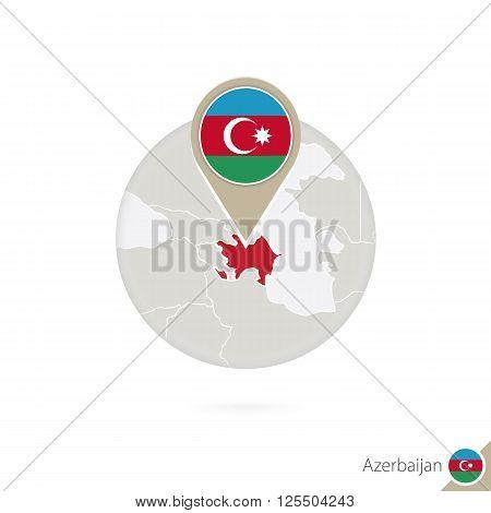 Azerbaijan Map And Flag In Circle. Map Of Azerbaijan, Azerbaijan Flag Pin. Map Of Azerbaijan In The