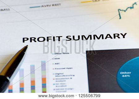 The Financial accounting profit summary graphs analysis