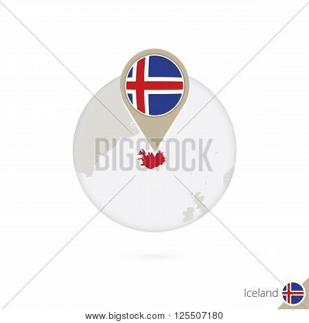 Iceland Map And Flag In Circle. Map Of Iceland, Iceland Flag Pin. Map Of Iceland In The Style Of The