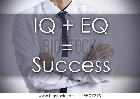 Iq + Eq = Success - Young Businessman With Text - Business Concept