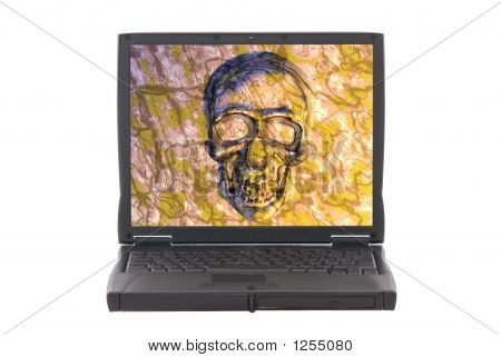 Infected Laptop With Virus, Skull On Screen.