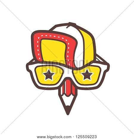 Creative designer logo. Graphic design studio logotype template. Geek face with baseball cap, sunglasses and pencil for avatar icon.  Hipster, geek or nerd creative avatar template. Vector icon