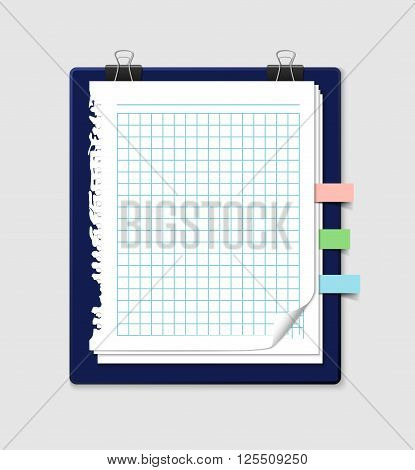 Squared paper sheets with ripped edges from notebook with colorful bookmarks and paper clips. Realistic illustration of vector note paper. Stack of paper sheets with curled corners.
