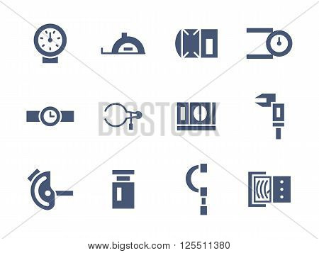 Metrology devices and instruments. Measuring equipment. Precision and accuracy. Set of simple blue glyph style vector icons. Web design elements for mobile app, site or business.