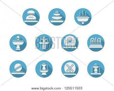 Fountains architecture samples. White silhouette objects. Parks and gardens decoration. Interior fountains. Set of flat round blue vector icons. Web design elements for mobile app, site or business.