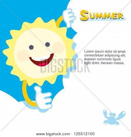 Summer sun smiling. hides behind a cloud. Vector illustration