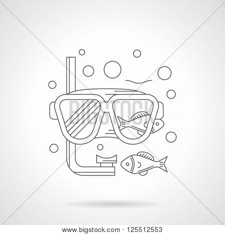 Diving mask with snorkel, fishes and bubbles. Sea recreation. Equipment and accessories for underwater sport. Single detailed flat line vector icon. Web design elements for business, site, mobile app.