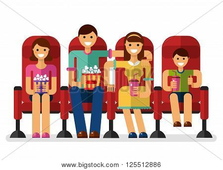 Vector flat style illustration of happy family in the cinema with popcorn and soda watching movie. People, family in the cinema concept isolated on white background.