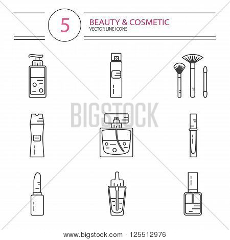 Vector modern line style icons set of beauty, makeup and cosmetics products. Perfume bottle, shampoo, lipstick, lip gloss, nail polish, brushes, hair spray or deodorant spray, oil.