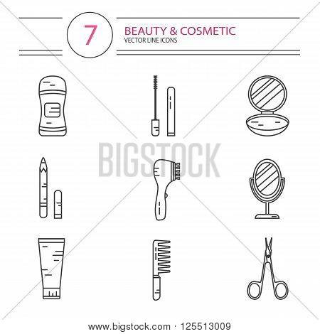 Vector modern line style color icons set of beauty, makeup and cosmetics products. Deodorant, scissors, mascara, mirror, hair brush, cream, eyeliner, fingers separator, face powder.