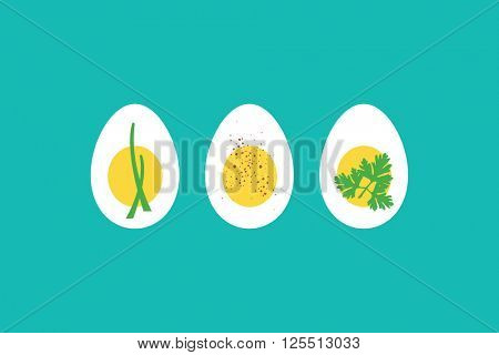A trio of hard boiled egg horderves, with chives, paprika and parsley.
