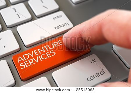 Close Up view of Male Hand Touching Adventure Services Computer Keypad. Hand of Young Man on Adventure Services Orange Key. Adventure Services Concept. 3D Render.
