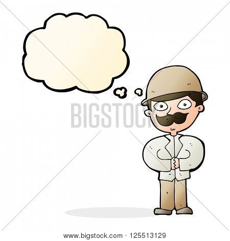 cartoon man in safari hat with thought bubble