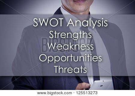 Swot Analysis List - Young Businessman With Text - Business Concept