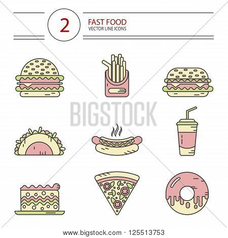 Modern line style vector color icons set of fast food, junk food. Tacos, cheeseburger, hamburger, soda, hotdog, donut, french fries, slice of pizza, cake. Isolated on white background.