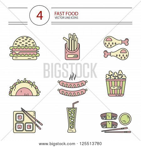 Modern line style vector color icons set of fast food, junk food. Tacos, chicken legs, popcorn, cheeseburger or hamburger, soda, hot sausage, french fries and sushi. Isolated on white background.