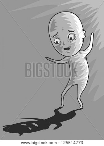 Illustration of a Man Scared of His Own Shadow