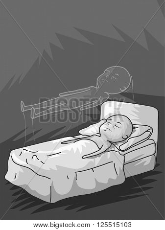 Illustration of a Man Experiencing Astral Projection
